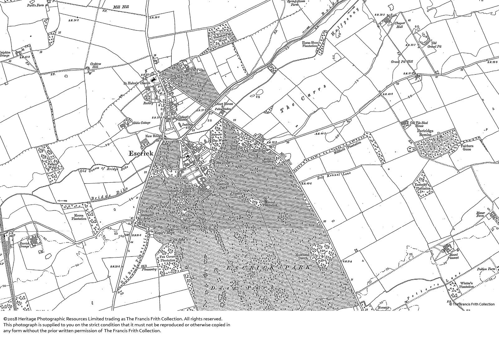 Map of Escrick, 1889-1890